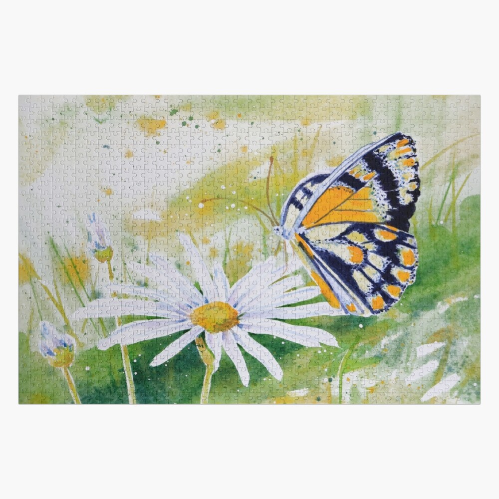 Butterfly Resting on a White Daisy Jigsaw Puzzle