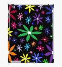 Colorful Retro Flowers on Black iPad Case/Skin