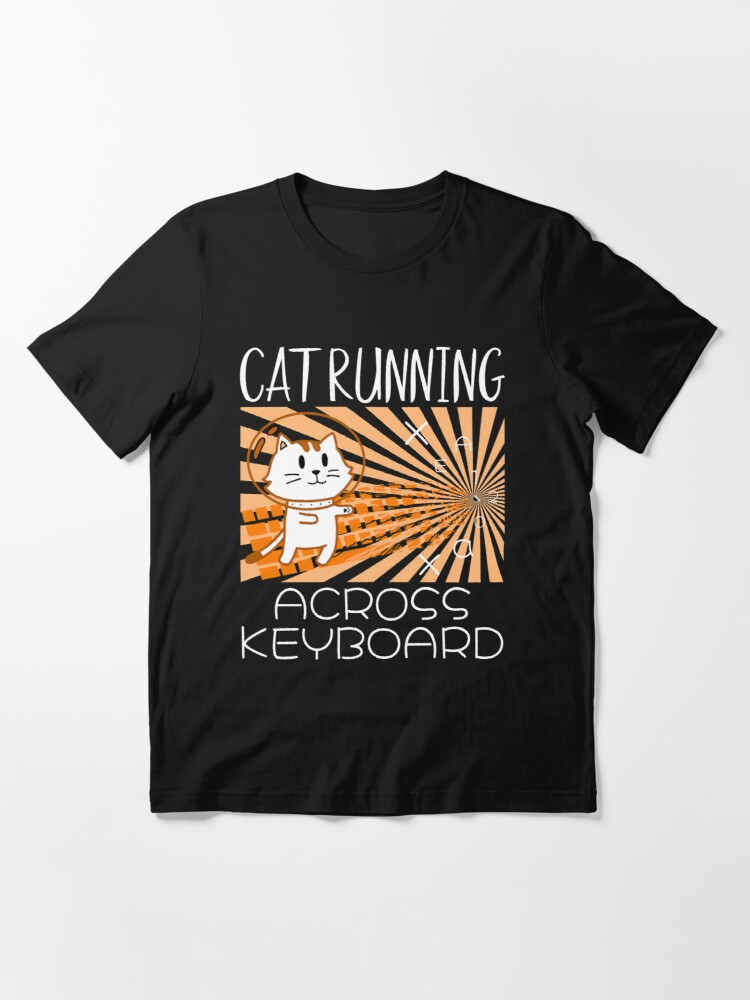 Alternate view of Cat Running Across Keyboard The Space Cat Riding Keyboard Essential T-Shirt
