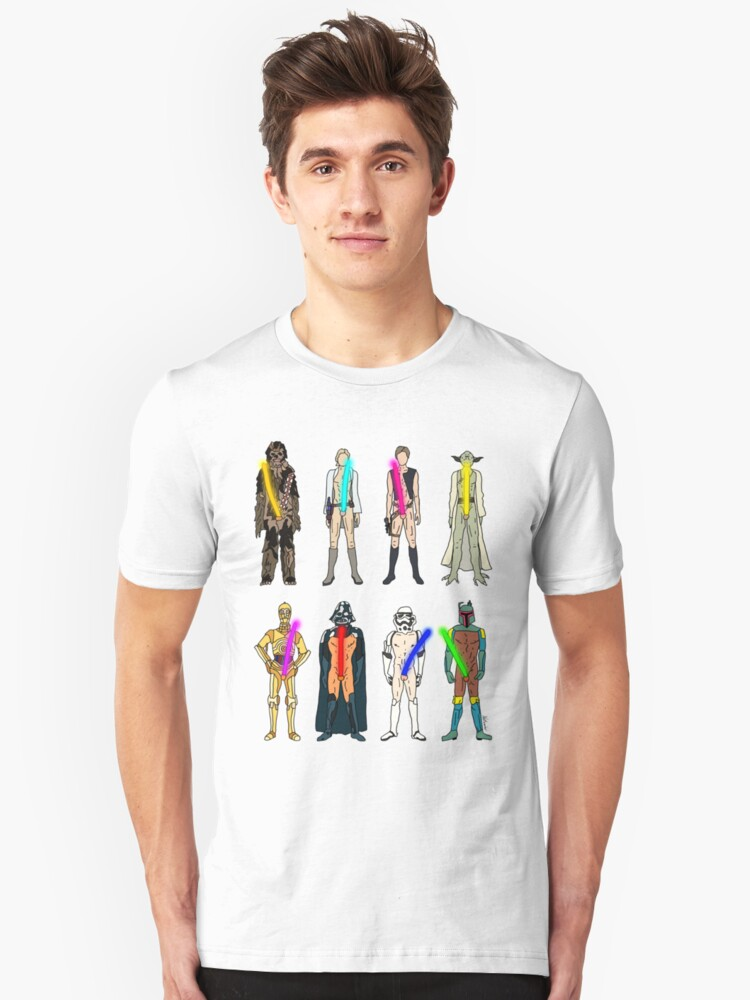 Alternate view of Naughty Lightsabers Slim Fit T-Shirt