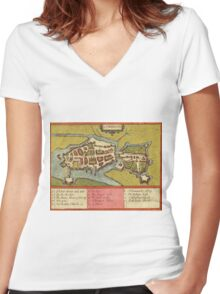 Limerick Vintage map.Geography Irland ,city view,building,political,Lithography,historical fashion,geo design,Cartography,Country,Science,history,urban Women's Fitted V-Neck T-Shirt