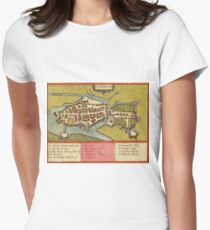 Limerick Vintage map.Geography Irland ,city view,building,political,Lithography,historical fashion,geo design,Cartography,Country,Science,history,urban Women's Fitted T-Shirt