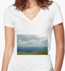 Natural scenery with mountains and cloudy sky. Women's Fitted V-Neck T-Shirt