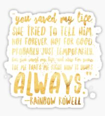 Eleanor and Park by Rainbow Rowell - Quote Sticker