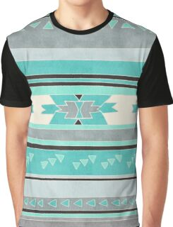 Rustic Tribal Pattern in Teal, Charcoal and Cream Graphic T-Shirt