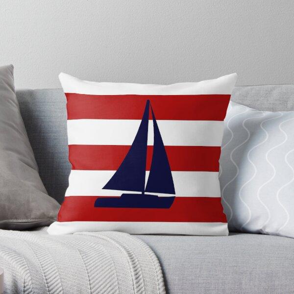 Nautical Navy Blue Sailboat On Red Stripes Throw Pillow