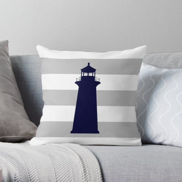 Nautical Navy Blue Lighthouse On Silver Gray Stripes Throw Pillow