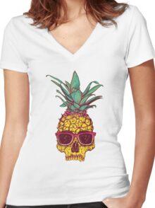 Skull Pineapple Women's Fitted V-Neck T-Shirt