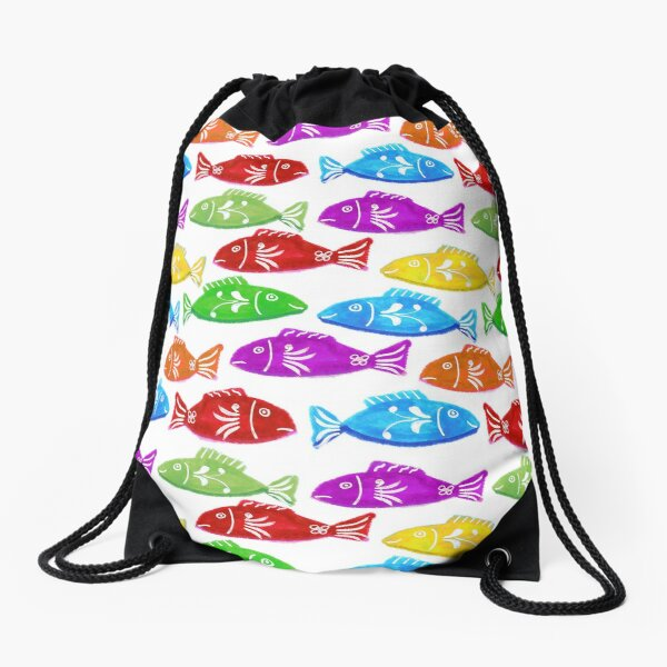 Cute and Sweet Swedish Folkart Fish Nordic Watercolor - Purple Red Yellow Green Orange Drawstring Bag