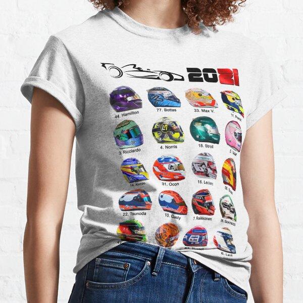 Race cars Formula 2021, helmets of drivers white Classic T-Shirt