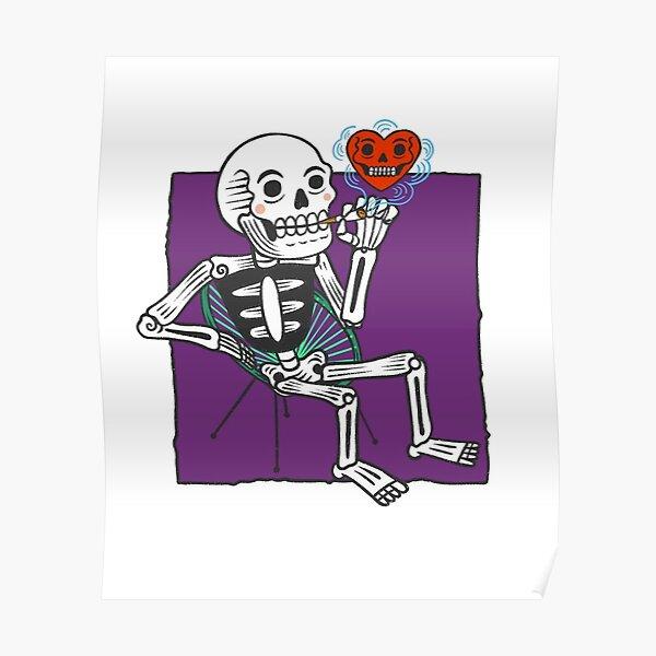 Skeleton smoking Poster