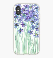 Purple Daisies in Watercolor & Colored Pencil  iPhone Case
