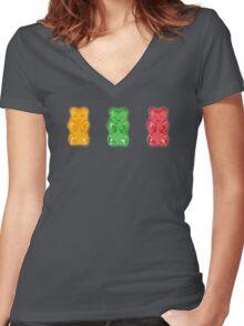 Vivid Gummy Bears Women's Fitted V-Neck T-Shirt
