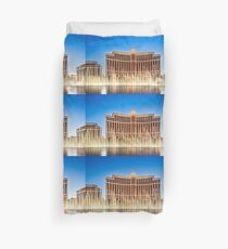 The Bellagio Hotel and Casino along the Strip in Las Vegas, Nevada. Duvet Cover