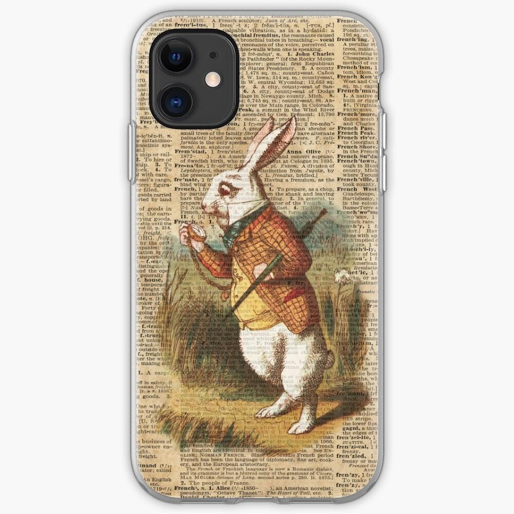 ANTIQUE BOOK PAGE ART PRINT Alice in Wonderland White Rabbit I/'m Late ORANGE