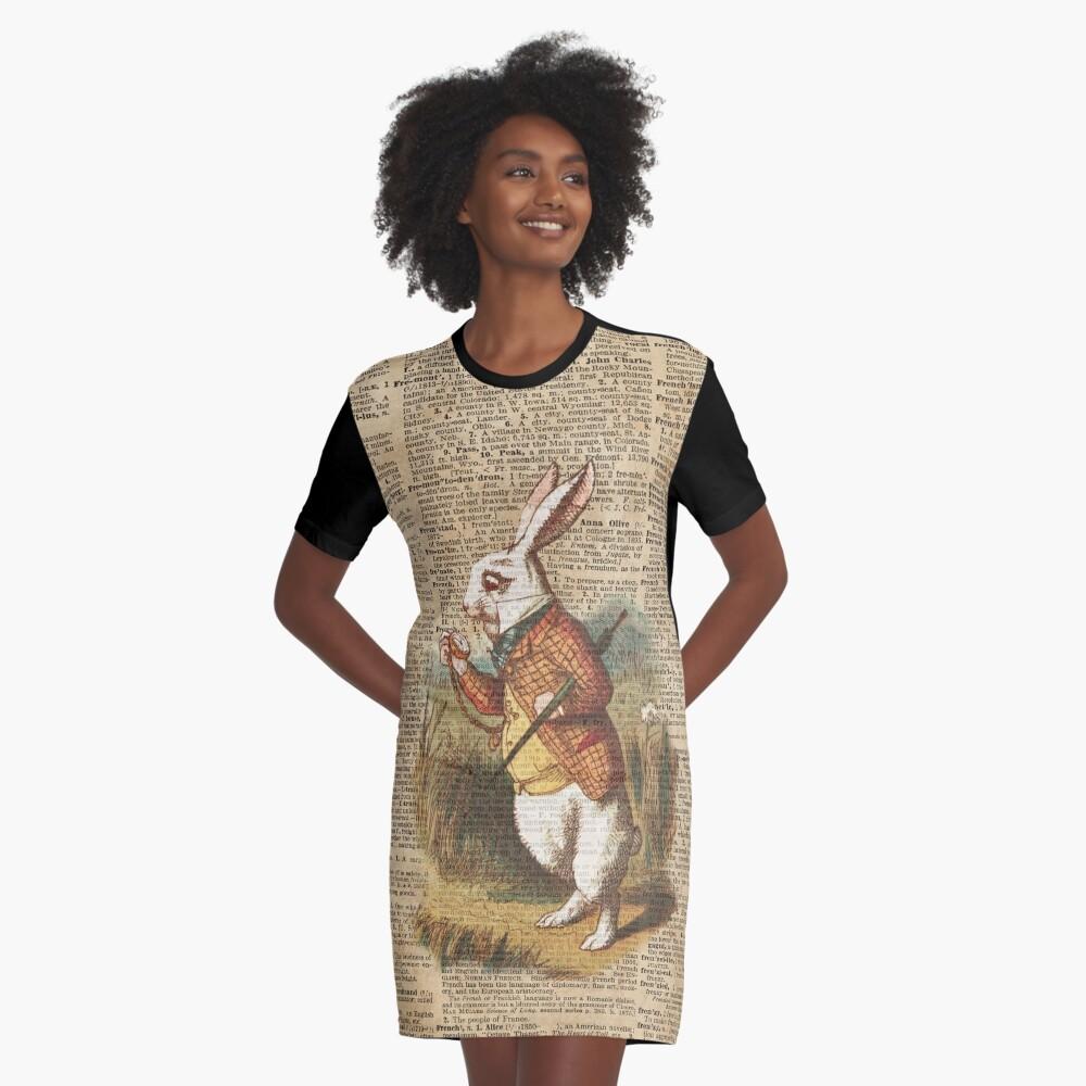 White Rabbit Alice in Wonderland Vintage Art Graphic T-Shirt Dress
