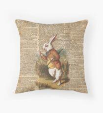 White Rabbit Alice in Wonderland Vintage Art Throw Pillow