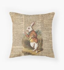 White Rabbit Alice in Wonderland Vintage Art Throw Pillow