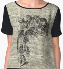Alice With Cheshire Cat,Alice In Wonderland,Vintage Dictionary Art Women's Chiffon Top