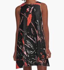 Red on black A-Line Dress