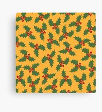 Holly on a gold background Canvas Print