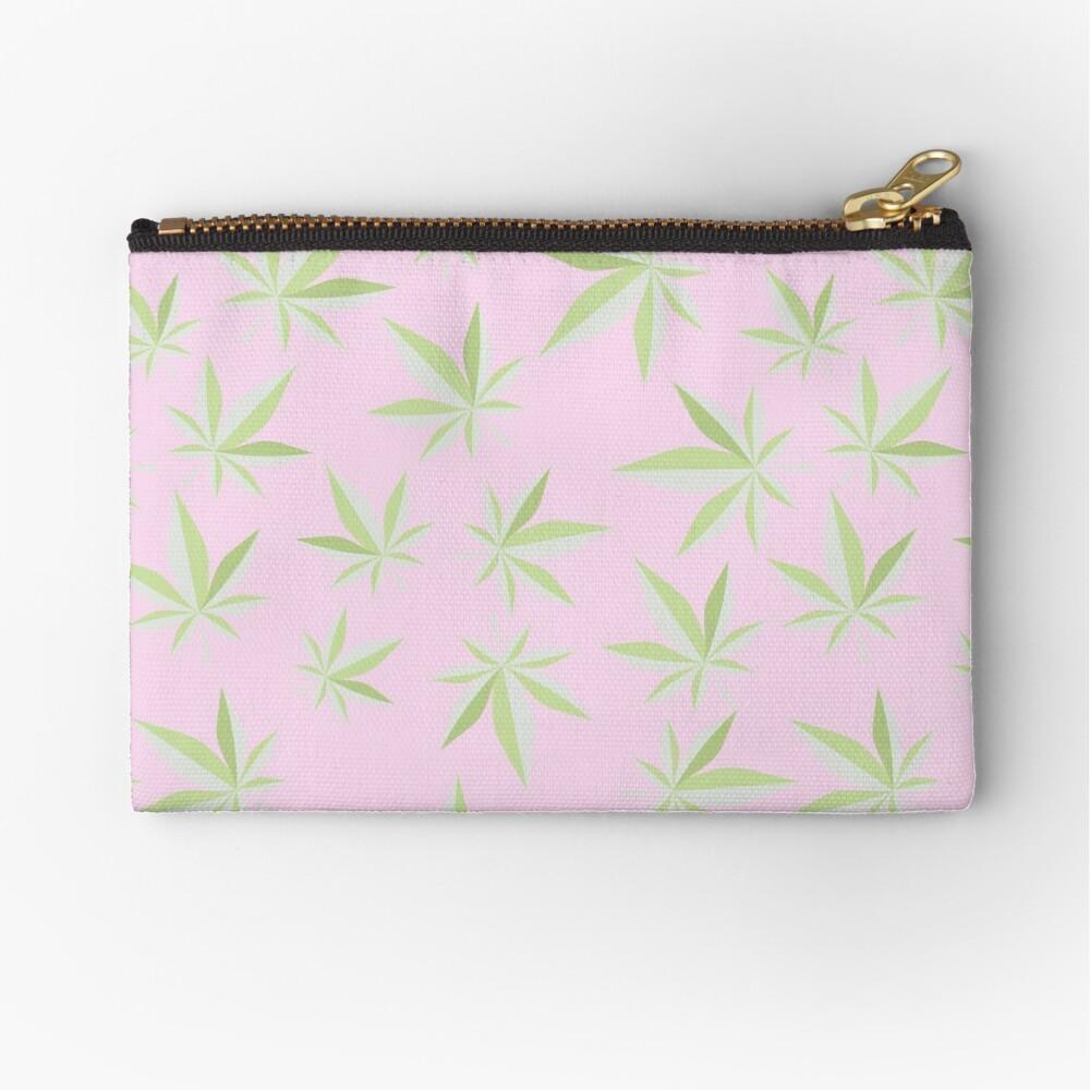 Pastel Pink Cannabis Leaf Zipper Pouch