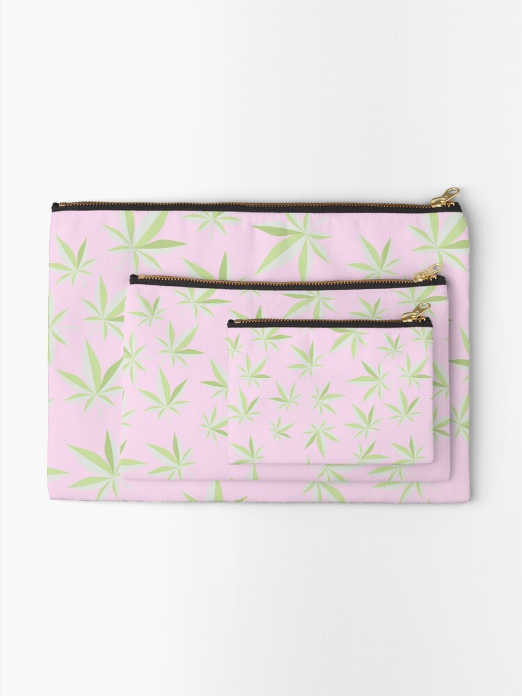 Alternate view of Pastel Pink Cannabis Leaf Zipper Pouch