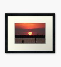 Island Park Big Sun Ball Sunset Framed Print