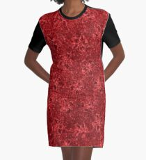Vintage Floral Ribbon Red Graphic T-Shirt Dress