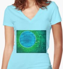 Cenote original painting Women's Fitted V-Neck T-Shirt