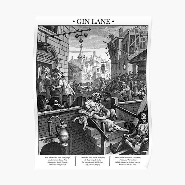 Gin Lane by William Hogarth Poster