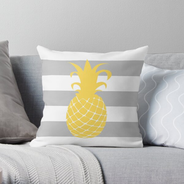 Mustard Yellow Pineapple On Silver Gray And White Stripes Throw Pillow