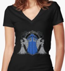Weeping Angels and the Tardis Women's Fitted V-Neck T-Shirt