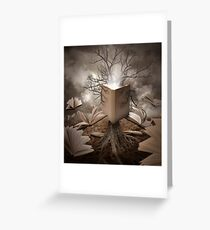 Magical Old Nature Tree Reading Books Greeting Card