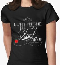 Black is my colour (white font, English spelling) Women's Fitted T-Shirt