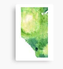 Watercolor Map of Alberta, Canada in Green  Canvas Print