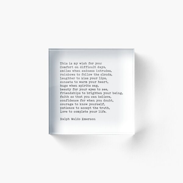 This Is My Wish For You, Ralph Waldo Emerson Quote Acrylic Block
