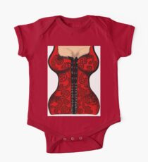 Red Paisley Corset One Piece - Short Sleeve