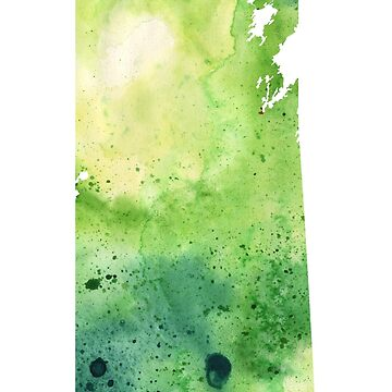 Watercolor Map of Saskatchewan, Canada in Green by AndreaHill