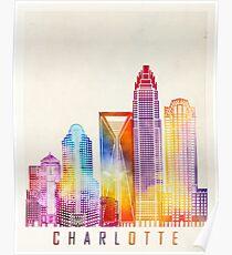 Charlotte landmarks watercolor poster Poster