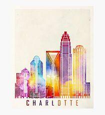 Charlotte landmarks watercolor poster Photographic Print