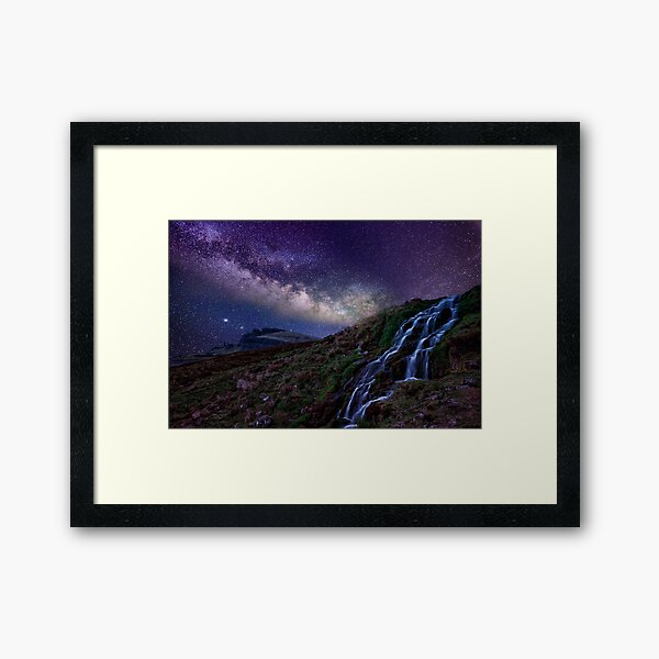 The creek and the milky way Framed Art Print