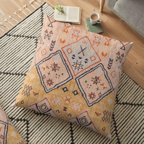 Mustard Yellow Oriental Heritage Boho Traditional Moroccan Desert Style Floor Pillow