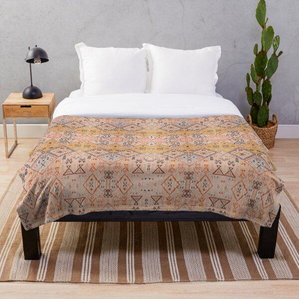 Mustard Yellow Oriental Heritage Boho Traditional Moroccan Desert Style Throw Blanket