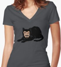 Vlad the Cat (Gray) Women's Fitted V-Neck T-Shirt
