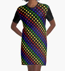 Rainbow Dots (Black) Graphic T-Shirt Dress