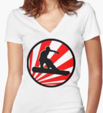 snowboard red rays Women's Fitted V-Neck T-Shirt