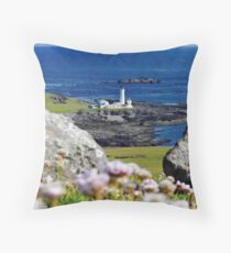 Rocks and South Lighthouse Fair Isle Shetland Islands. Scotland UK Throw Pillow