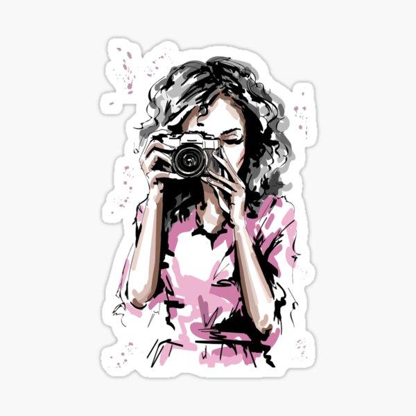 Stylish Elegant Girl with Camera  Sticker