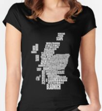 Distillery Map of Scotland Women's Fitted Scoop T-Shirt